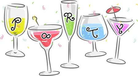 Text Illustration Featuring Glasses Printed with Letters that Spell the Word Party illustration