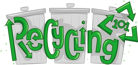 thrash: Text Illustration Featuring Thrash Cans with the Words Recycling 101 Overlaid Upon Them Stock Photo