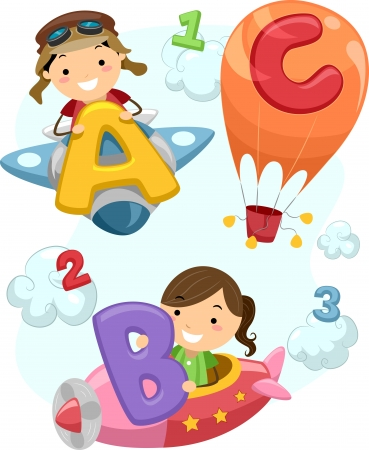 Illustration of Stick Children Carrying Letters of the Alphabet Onboard a Plane illustration