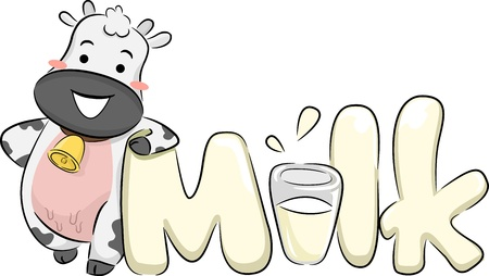 Illustration of a Happy Cow Leaning on the Word Milk illustration