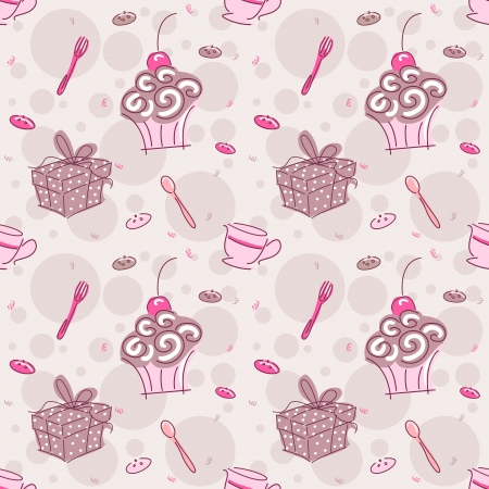 Background Seamless Illustration Featuring Presents, Cupcakes, and Tea Stock Illustration - 14880465