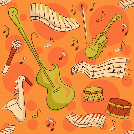 Background Seamless Illustration Featuring Musical Instruments Stock Illustration - 14880468