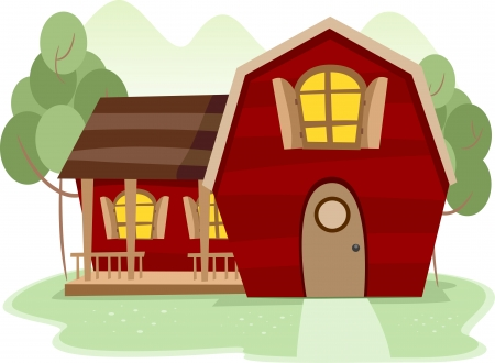 Illustration of a Rural Scence Featuring a Red Barnhouse illustration