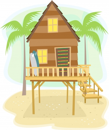 Illustration of a Beach House with Surfboards Resting on the Side illustration