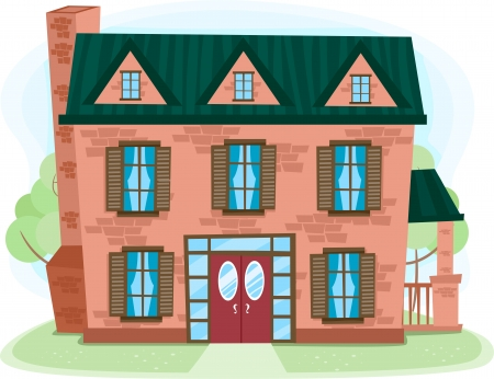 attic: Illustration of a Multilevel House Made of Bricks