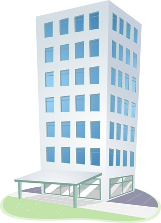 Illustration of an Urban Scene Featuring a High Rise Condominium illustration