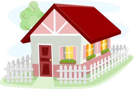 homely: Illustration of a Homely Bungalow Surrounded by a Wooden Fence