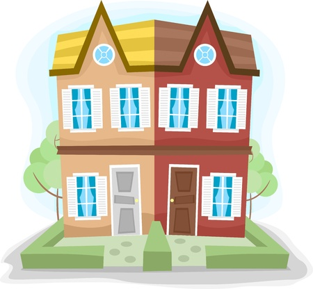 residences: Illustration of a Duplex House with Dissimilar Colors Stock Photo