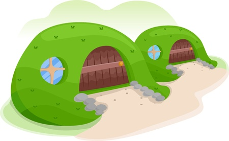 sheltered: Illustration of an Earth Sheltered House Covered with Grass