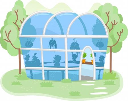 Illustratie van een kleine kas gevuld met verschillende soorten planten Stockfoto