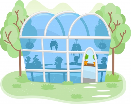 greenhouses: Illustration of a Small Greenhouse Filled with Different Kinds of Plants