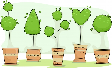 topiary: Illustration Featuring an Assortment of Topiaries with Different Designs Stock Photo