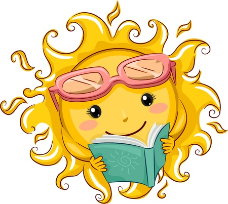 cartoon reading: Illustration of a Relaxed Sun Reading a Book Stock Photo