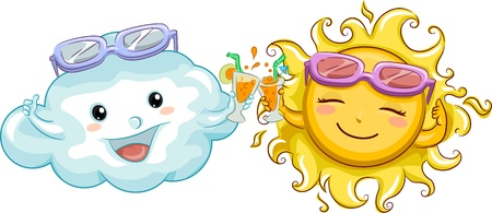 Illustration of a Sun and a Cloud Doing a Toast illustration