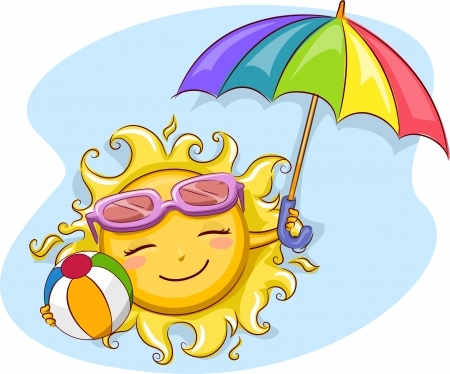 hot day: Illustration of a Cheerful Sun Holding a Beach Umbrella and a Beach Ball