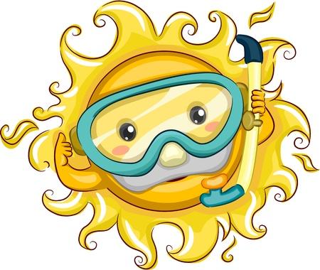 sol caricatura: Ilustración de un sol alegre uso de equipo de snorkel