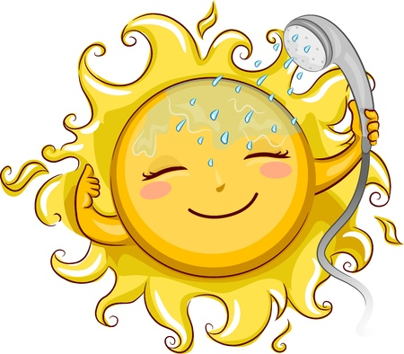 showering: Illustration of a Cheerful Sun Showering with a Telephone Shower