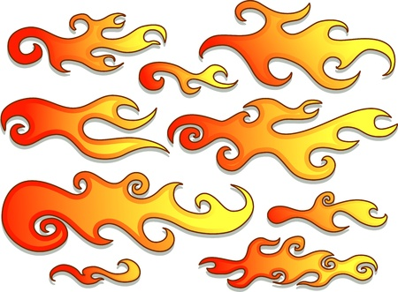 Illustration Featuring Flames with Different Designs illustration