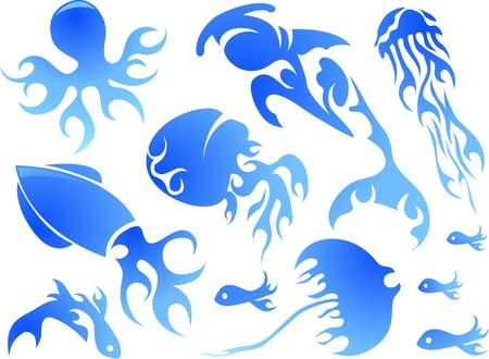 Illustration Featuring Flamy Sea Creature Designs illustration