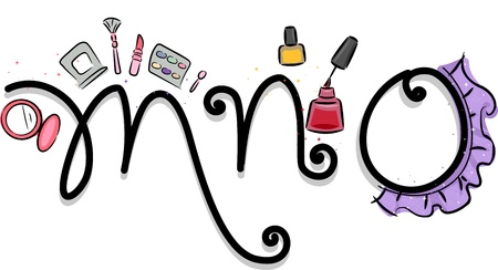 Text Illustration Featuring a Girly Alphabet with the Letters M, N, and O illustration