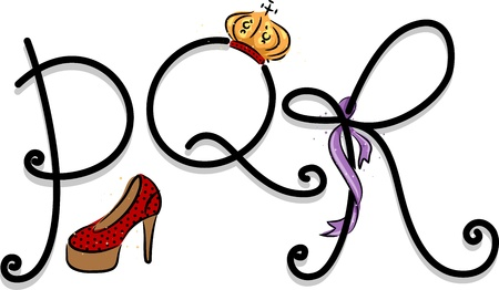 shoes cartoon: Text Illustration Featuring a Girly Alphabet with the Letters P, Q, and R