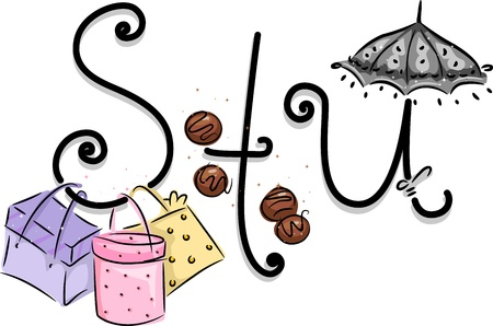 truffle: Text Illustration Featuring a Girly Alphabet with the Letters S, T, and U