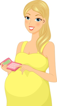 Illustration of a Pregnant Woman Calculating Her Budget for Her Pregnancy Stock Illustration - 15067789