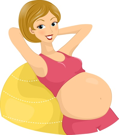 Illustration of a Pregnant Woman Exercising Using an Aerobics Ball illustration