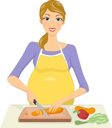 slicing: Illustration of a Pregnant Woman Slicing Vegetables Before Cooking