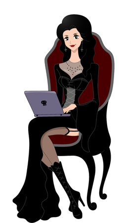 art blog: Illustration of a Woman Dressed in a Gothic Costume Using a Laptop