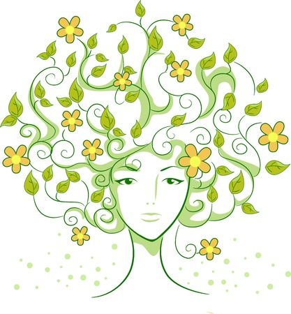 mother earth: Illustration of a Thinly-built Woman with Vine-like Hair Stock Photo