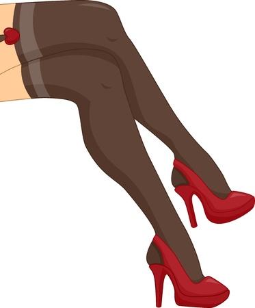 tacones rojos: Ilustración recortada Con las piernas de una mujer con medias negras