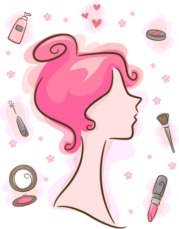 lipstick brush: Illustration Featuring Make-up and Cosmetics Related Elements