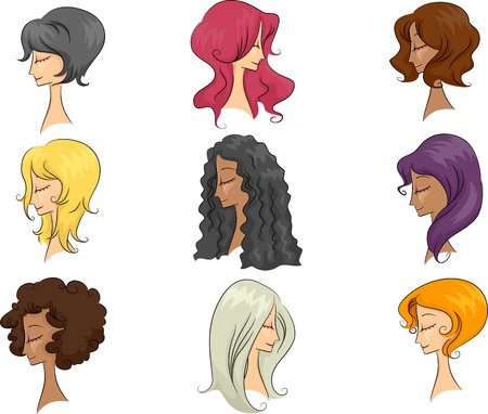 Illustration Featuring Mannequins Sporting Different Hairstyles illustration