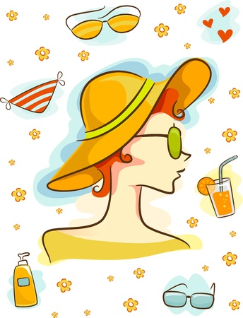 Illustration Featuring Summer-Related Elements Stock Illustration - 15067673