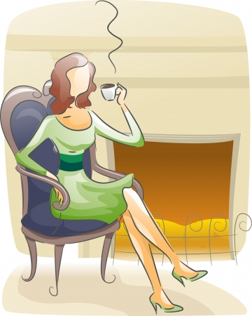 cartoon fireplace: Watercolor Illustration Featuring a Woman Sipping Coffee Near a Fireplace