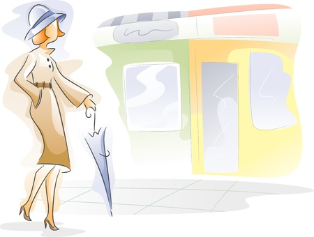 peoples: Watercolor Illustration Featuring a Woman Walking the Streets Stock Photo