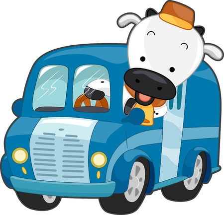 Illustration of a Happy Cow Driving a Milk Delivery Truck illustration