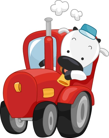 Illustration of a Happy Cow Driving a Farmtruck illustration