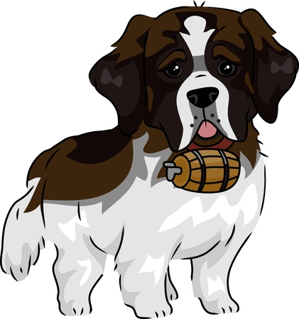 Illustration Featuring a Cute and Playful St. Bernard Stock Illustration - 15067738