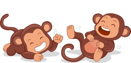 laughter: Illustration of Cute Little Monkeys Rolling on the Floor Laughing