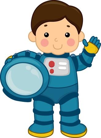 astronauta: Ilustración de un muchacho joven que llevaba un traje espacial Foto de archivo