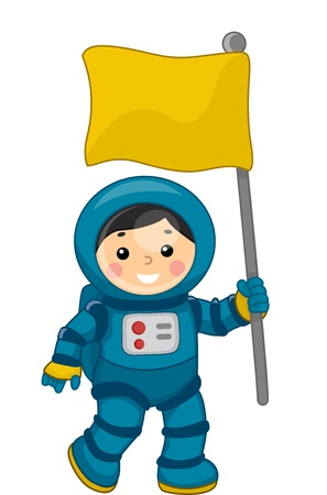 Illustration of a Young Male Astronaut Carrying a Flag in Outer Space illustration