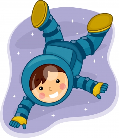 astronauts: Illustration of a Young Male Astronaut Floating in Outer Space