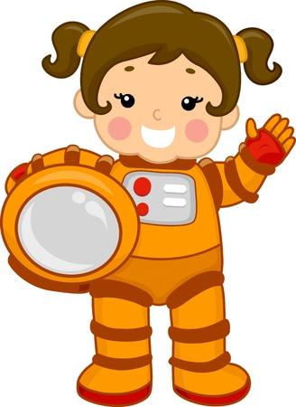 astronauta: Ilustración de un joven que llevaba un traje espacial Foto de archivo