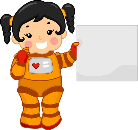 spacesuit: Illustration of a Girl Holding a Blank Board While Dressed in a Spacesuit