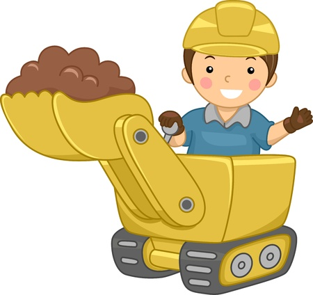 Illustration of a Smiling Kid Operating a Bulldozer illustration