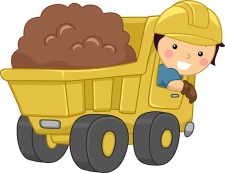 recolector de basura: Ilustración de un niño sonriendo operación un camión de volteo Foto de archivo