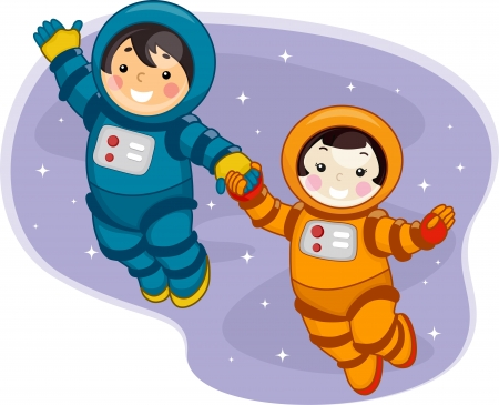 astronomy: Illustration of Kids Dressed in Spacesuits and Floating in Outer Space