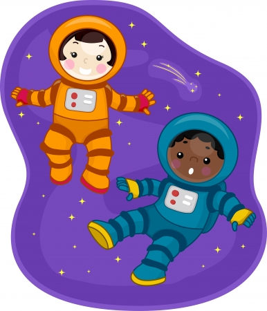 astronaut: Illustration of Kids Dressed in Spacesuits and Floating in Outer Space